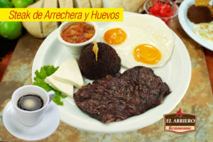 Steak de arrechera y huevos - Desayunos el salvador